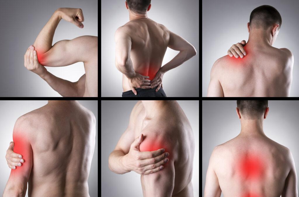 Et billede af den samme person 6 gange med forskellige punkter på sin krop der gør ondt