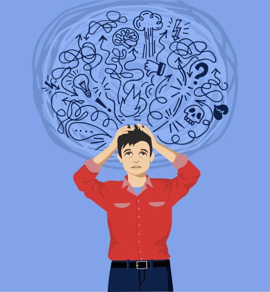 En illustration af en person der føler sig forvirret - Uønskede tilstande eller psykisk ubalance